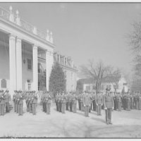 Charlotte Hall Military Academy. Cadets with rifles, in formation near building