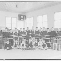 Charlotte Hall Military Academy. Group portrait at boxing ring corner