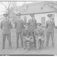 Charlotte Hall Military Academy. Uniformed men on lawn II