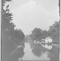 Chesapeake and Ohio (C&O) Canal. View of canal with building