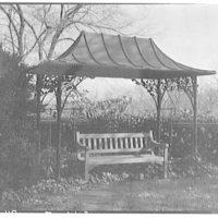 Dumbarton Oaks. Covered bench at Dumbarton Oaks