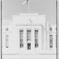 Federal Reserve Building. Front entrance of Federal Reserve from center I
