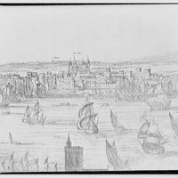 Folger Library copy work. Illustration of London showing buildings along the Thames V