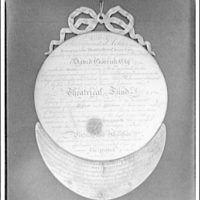 Folger Library copy work. Medal presented to David Garrick in 1777, text side
