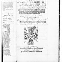 Folger Library copy work. Title page of 1573 English edition of Psalms