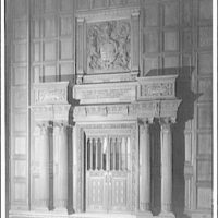 Folger Library interiors. East end of exhibition hall at Folger Library