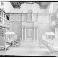 Folger Library interiors. East end of reading room at Folger Library, empty