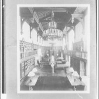 Folger Library interiors. Reading room of Folger Library from west end