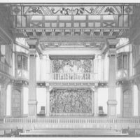 Folger Library interiors. Stage of theater at Folger Library from center I