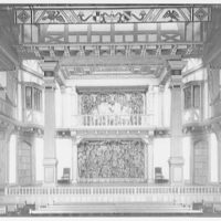 Folger Library interiors. Stage of theater at Folger Library from center II