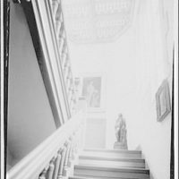 Folger Library interiors. Stairway to second floor of Folger Library