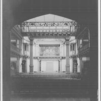 Folger Library interiors. Theater at Folger Library from rear looking to stage I