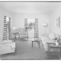 George Moss houses. Living room in George Moss house