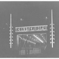 Glen Echo amusement park. Coaster dips, angled tunnel view at night, Glen Echo