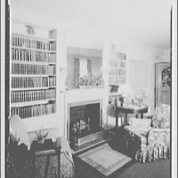 Hamlet house, Chevy Chase Land Co. Living room, to fireplace, Hamlet house