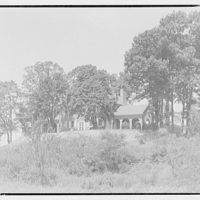 Harriman house. View of Harriman house on wooded hill