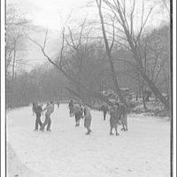 Ice skating. People skating on creek
