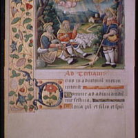 Illuminated manuscript pages. Angels appearing to shepherds illumination I