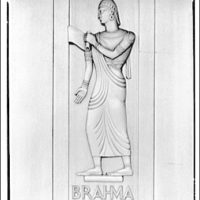 Library of Congress (John Adams Building). Figure of Brahma on door, Library of Congress annex