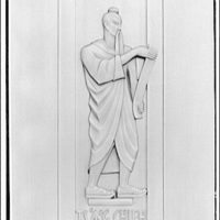 Library of Congress (John Adams Building). Figure of Ts'ang Chieh on door, Library of Congress annex
