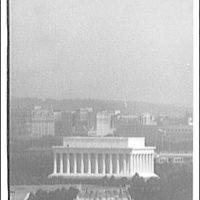 Lincoln Memorial. Aerial view of Memorial Bridge, Lincoln Memorial and Mall beyond