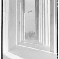 Lincoln Memorial. Dirigible Los Angeles through columns of Lincoln Memorial