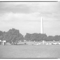 Mall. People on Mall with Washington Monument in background