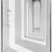 Mall. Showing Washington Monument through Lincoln Memorial columns and wall with shadow