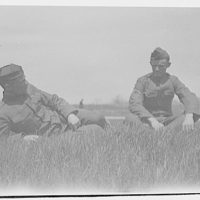 Military subjects. Two soldiers in field