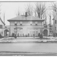 Miscellaneous houses. Two-story stucco house with arcades on sides