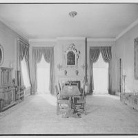 Miscellaneous interiors. Dining room, to windows