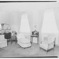 Miscellaneous interiors. Interior, past chairs to two windows