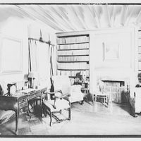 Miscellaneous interiors. Library, to fireplace and bookshelves