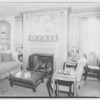 Miscellaneous interiors. Living room, to fireplace with painting of Oriental hunting scene above mantel I