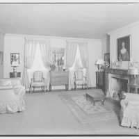 Miscellaneous interiors. Living room, to fireplace with portrait of woman above mantel II