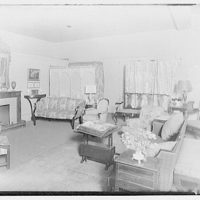 Miscellaneous interiors. Living room, to screen and window