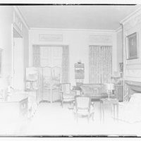 Miscellaneous interiors. Living room, to screened door and window