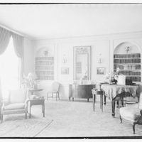 Miscellaneous interiors. View to bookshelves and piano