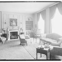 Miscellaneous interiors. View to couch and fireplace
