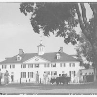 Mount Vernon. Rear of Mount Vernon mansion with people