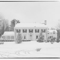 Mr. Teal, residence at 129 Woodhaven, Renwood, Maryland. Exterior of Mr. Teal's house in snow III