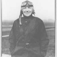 Mrs. Goff at the airport. Mrs. Goff in flying gear