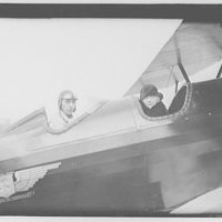 Mrs. Goff at the airport. Mrs. Goff in two-seater bi-plane I