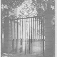 Mrs. Moran home at 2320 Bancroft. Detail of wrought-iron gate at Mrs. Moran's home