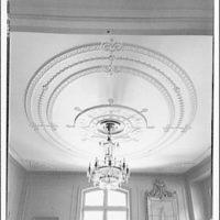 Mrs. Moran home at 2320 Bancroft. View to plaster medallion and chandelier in Mrs. Moran's home