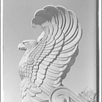 National Archives. Stone eagle on top of National Archives Building