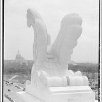 National Archives. Stone eagle on top of National Archives Building III