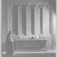 National Cathedral interiors. Bishop Dunn at tomb of Bishop Freeman in National Cathedral I
