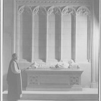 National Cathedral interiors. Bishop Dunn at tomb of Bishop Freeman in National Cathedral III