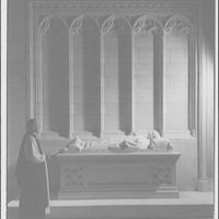 National Cathedral interiors. Bishop Dunn at tomb of Bishop Freeman in National Cathedral II